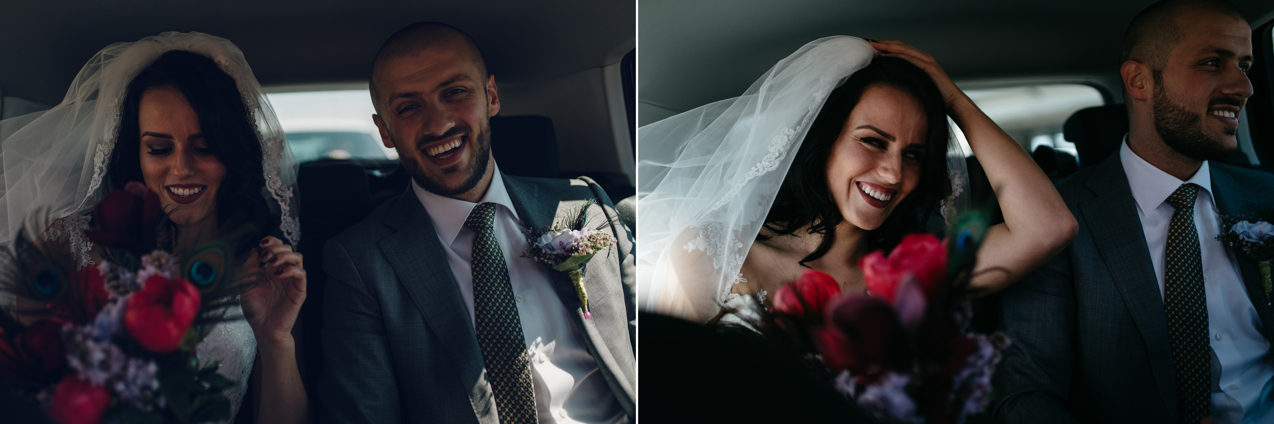 bruidsfotografie amsterdam bruidspaar in auto
