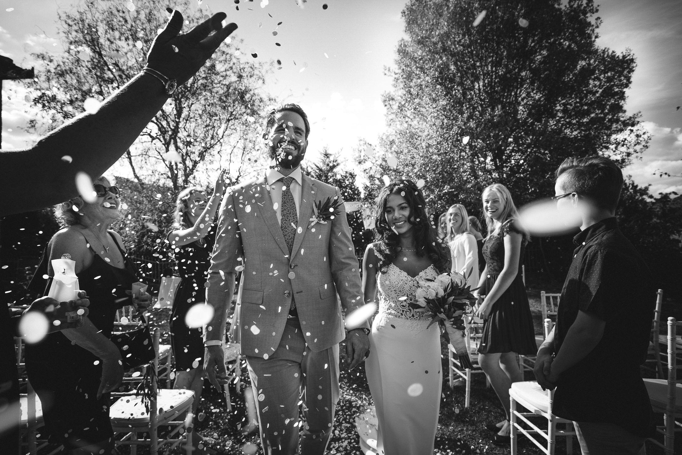 best amsterdam wedding photographer mark hadden - just married couple in confetti
