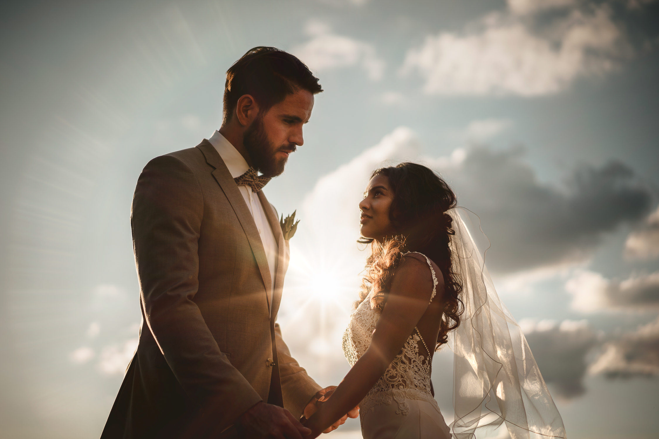 romatic wedding photography from mark hadden of amsterdam - couple at sunset with love