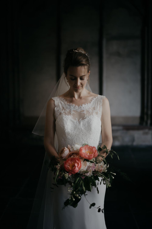 bridal portrait in the dom tower utrecht by mark hadden amsterdam wedding photographer