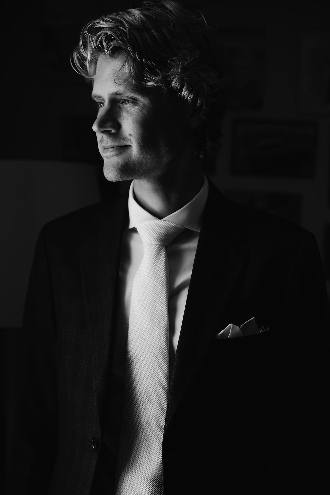 groom prep portrait in utrecht by mark hadden wedding photographer