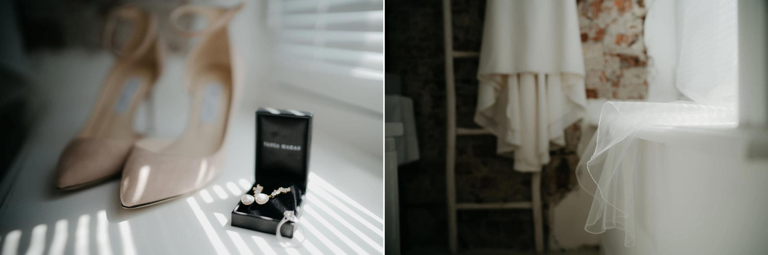 bruiloft details ring oorbellen jurk fotografie schoenen fotograaf mark hadden
