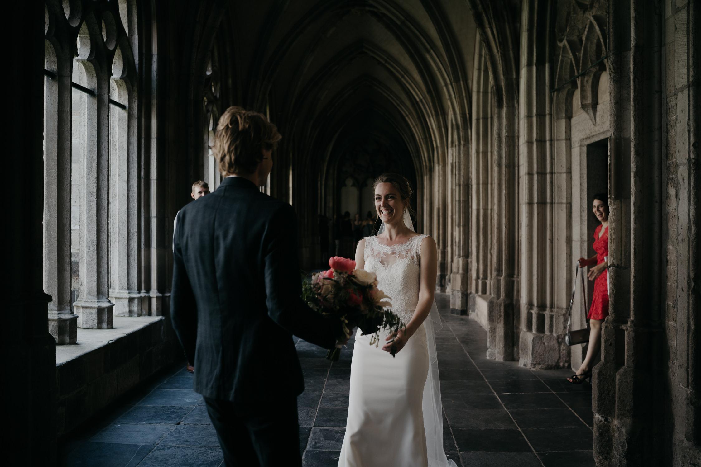 amsterdam and utrecht wedding photographer couple first look domtoren
