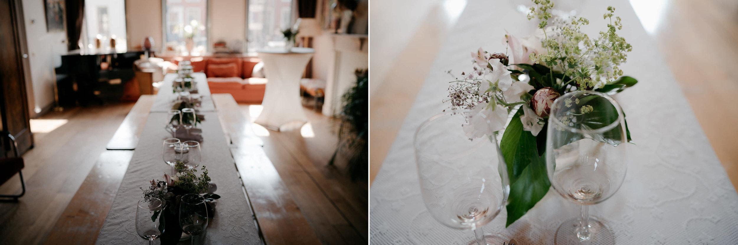 bruiloft receptie detail bloemen diner fotografie mark hadden