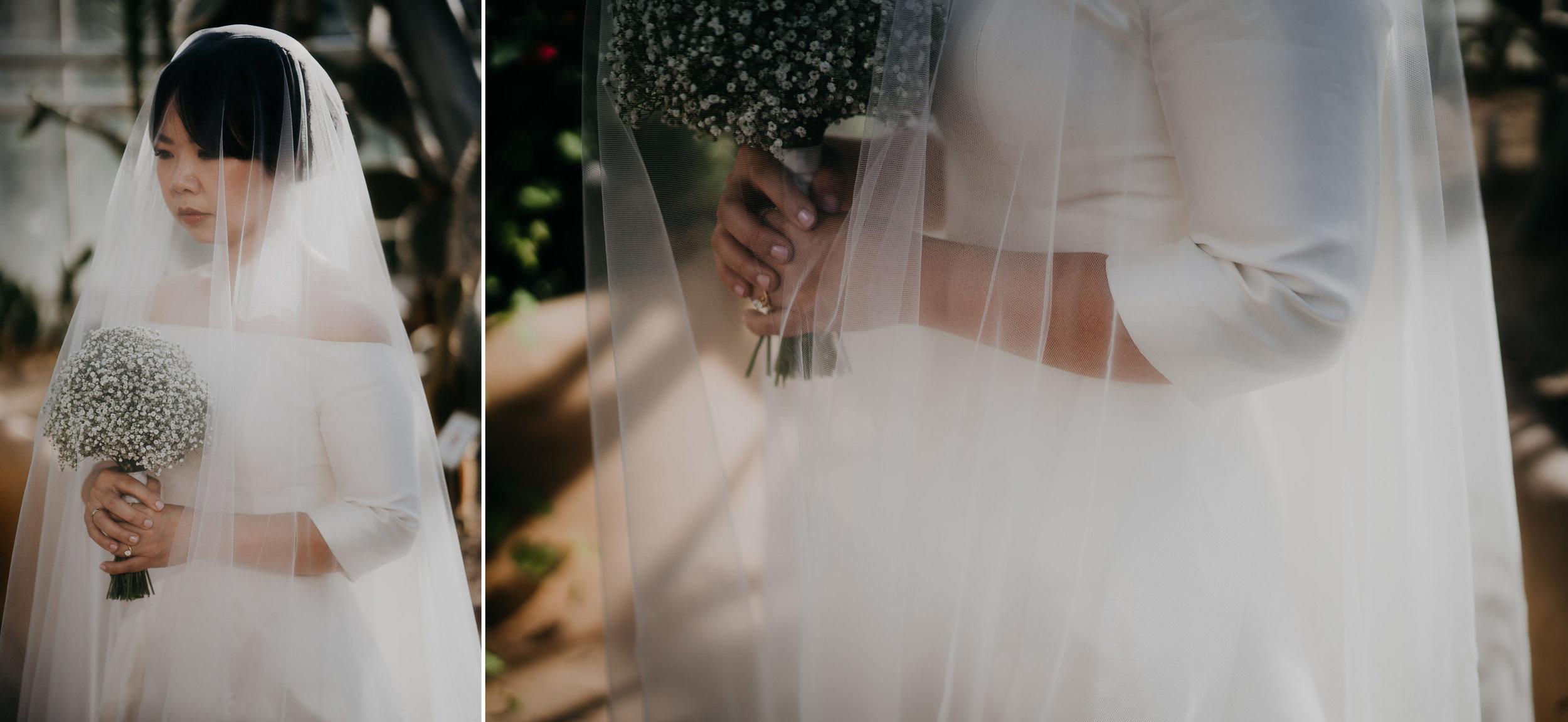 portrait bride wedding in botanical garden amsterdam