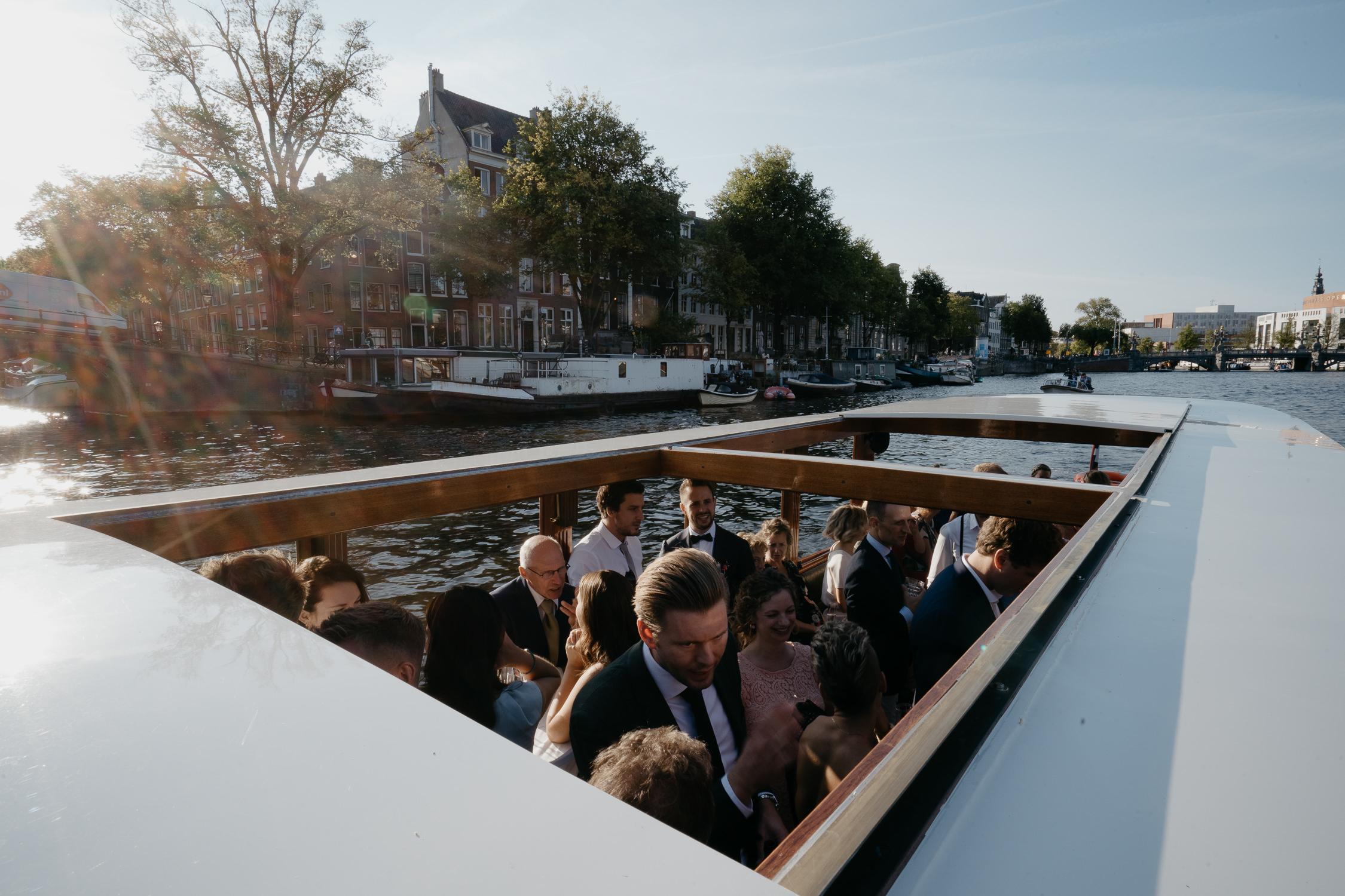 Photograph of wedding boat trip around amsterdam