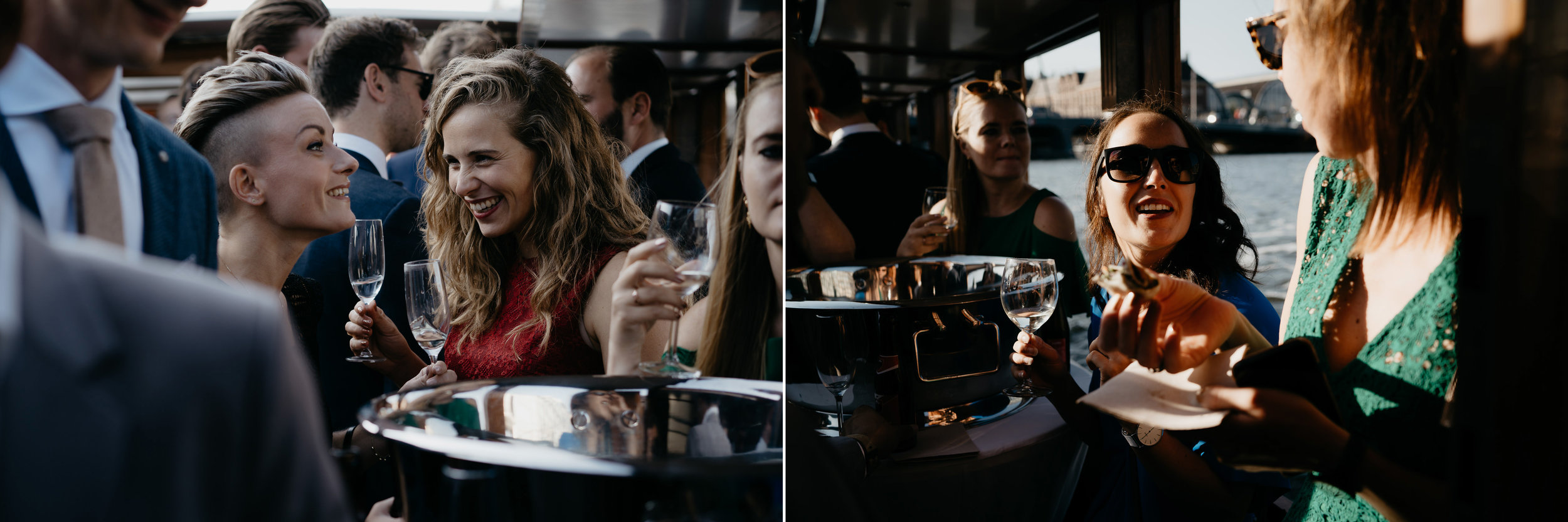 lovely wedding reception on a boat in amsterdam by mark hadden photography