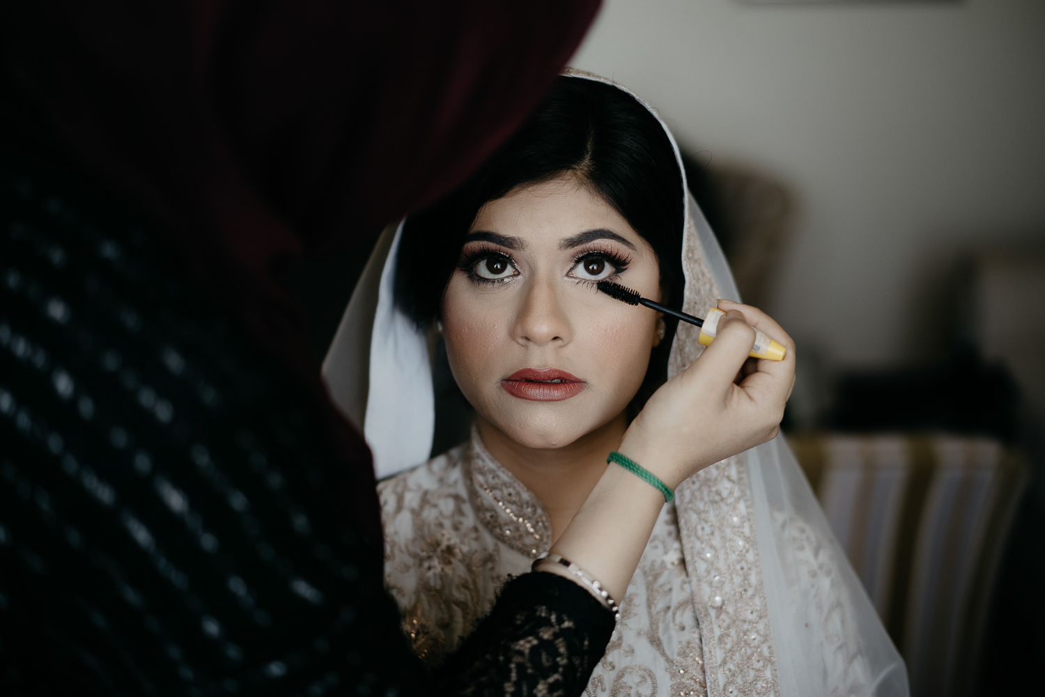 indian bride hair and makeup wedding ceremony photography