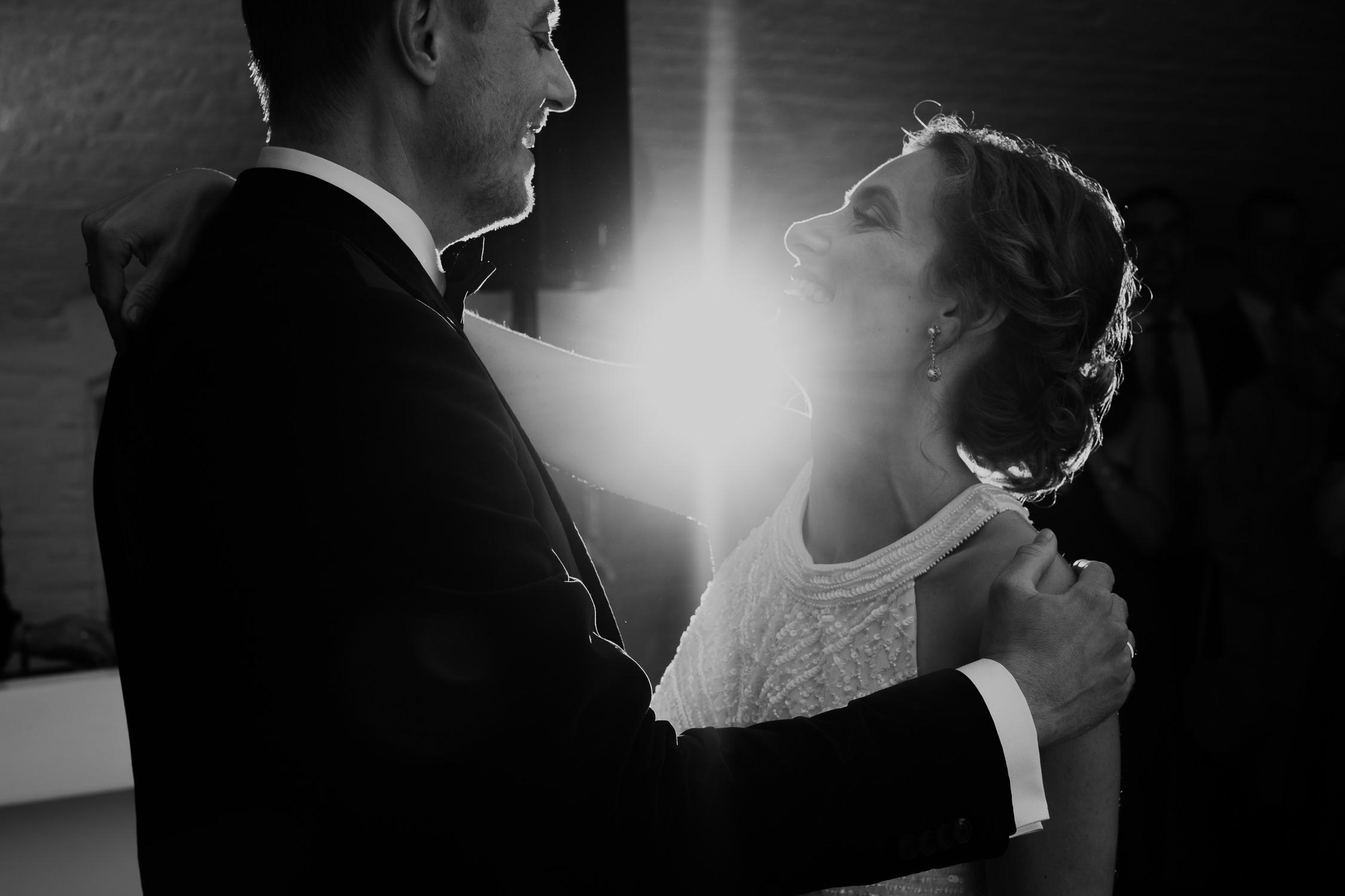 couple photograped wedding party flash photography