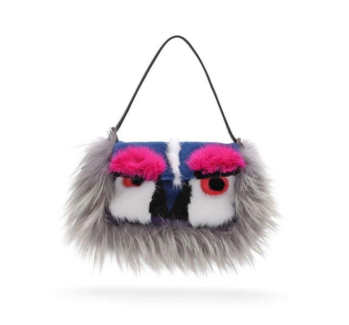 Fendi Fur Mini Monster Baguette Bag