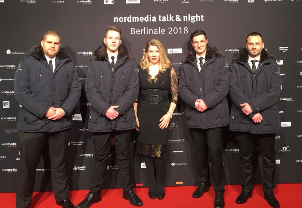 I've always loved Whitney Houston - me and my dashing bodyguards at Nordmedia Night.