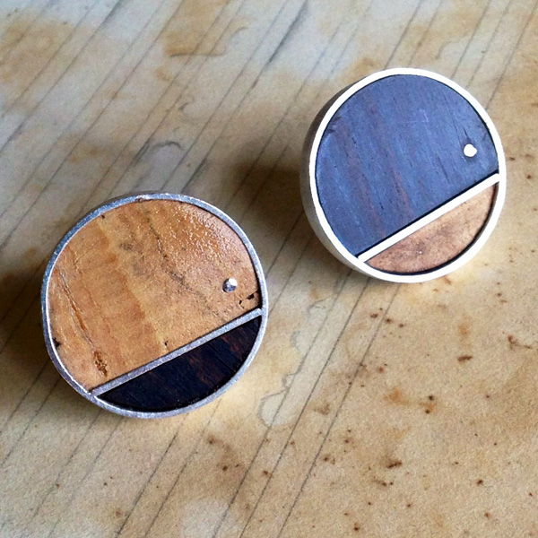 Cork & Black Walnut Sterling Silver Cufflinks