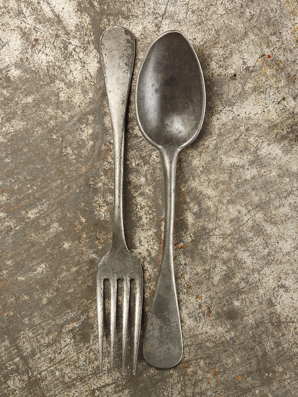 #64 Pewter Spoon & Fork