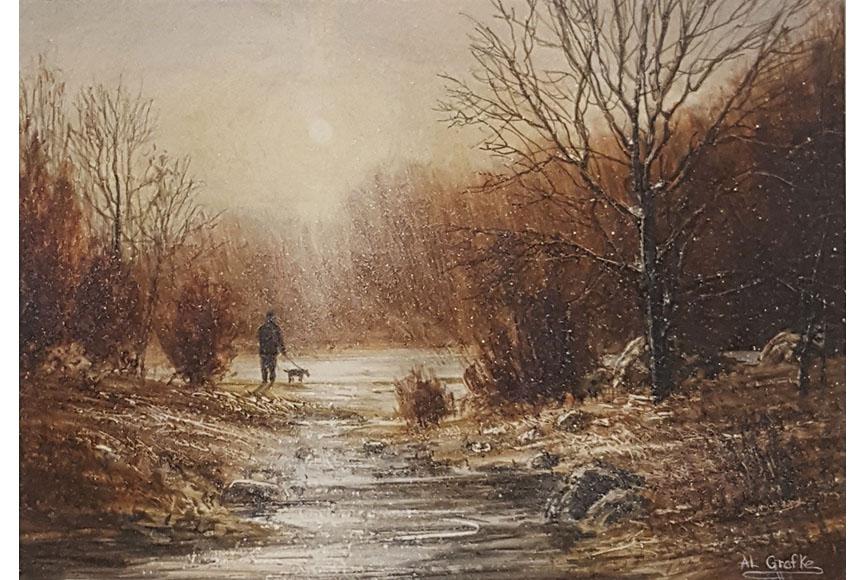 """""""Walking in November"""" by Al Grafke Size: 11 x 13 in. $225"""