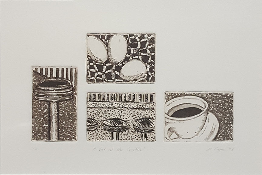 """Etching in 4 Parts"" by Marjorie Coyne Size:  13.5 x 16.5  $150"