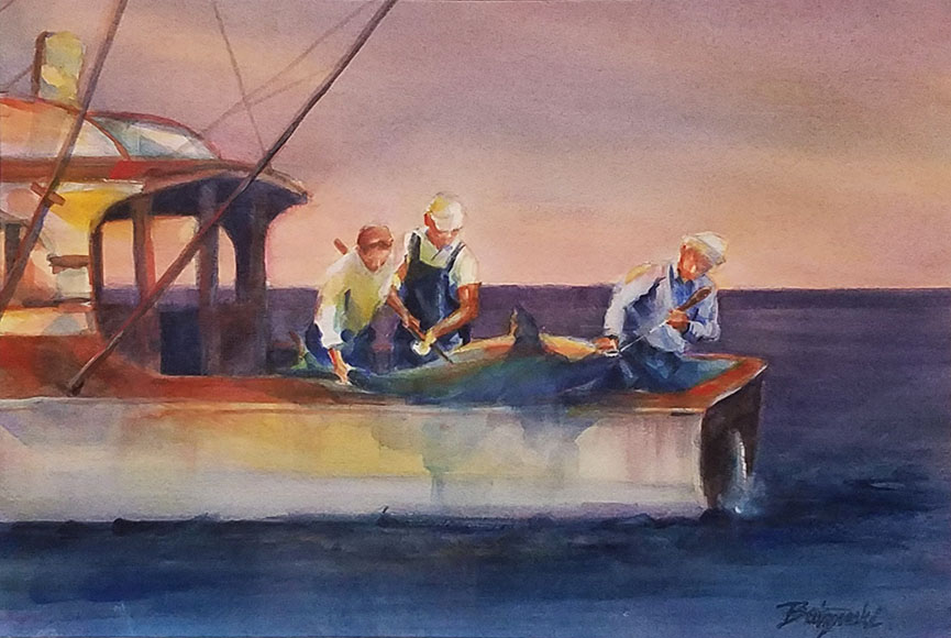 """Fish Story"" by Pat Butynski Size:  21.5 x 25.5 in.  $375"