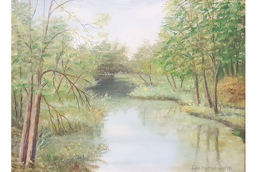 """River and Trees"" by Ida Butterworth Size: 15.5x19.5 in.  $300"