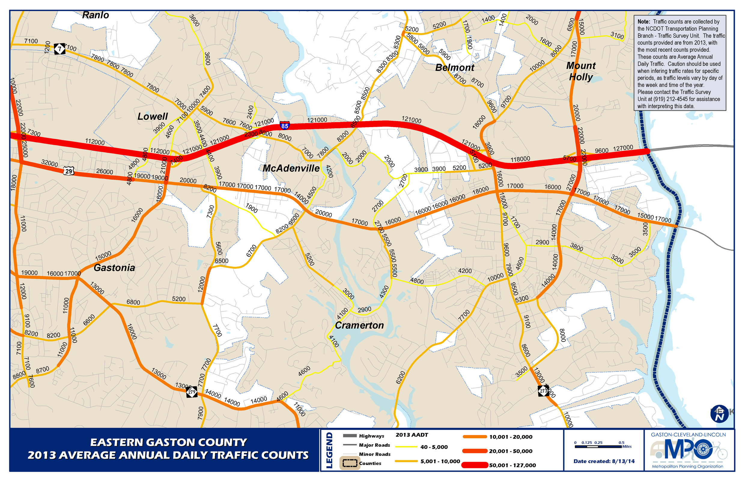 Eastern Gaston County 2013 Average Annual Daily Traffic Counts
