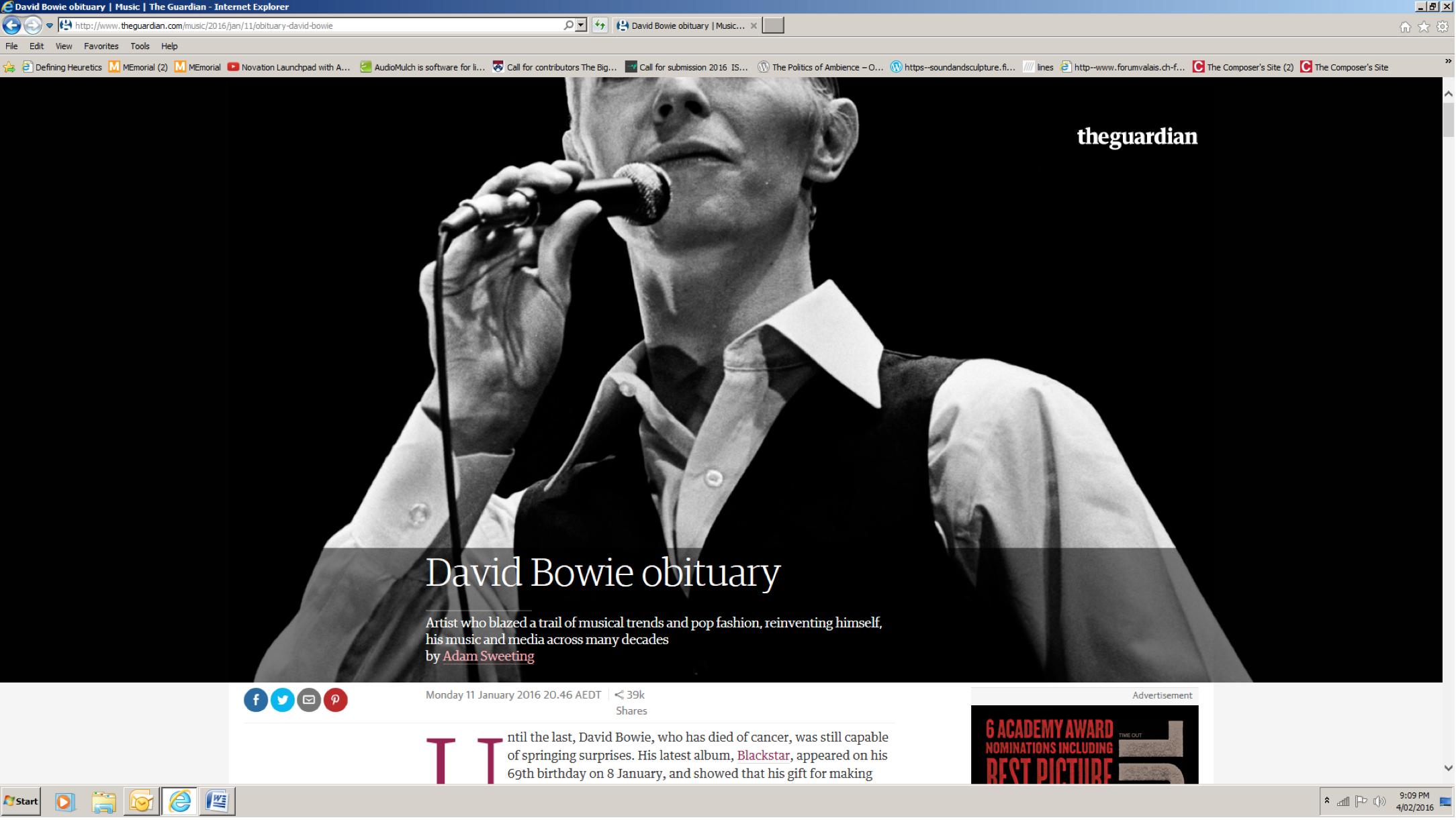 """David Bowie Obituary"" 1"
