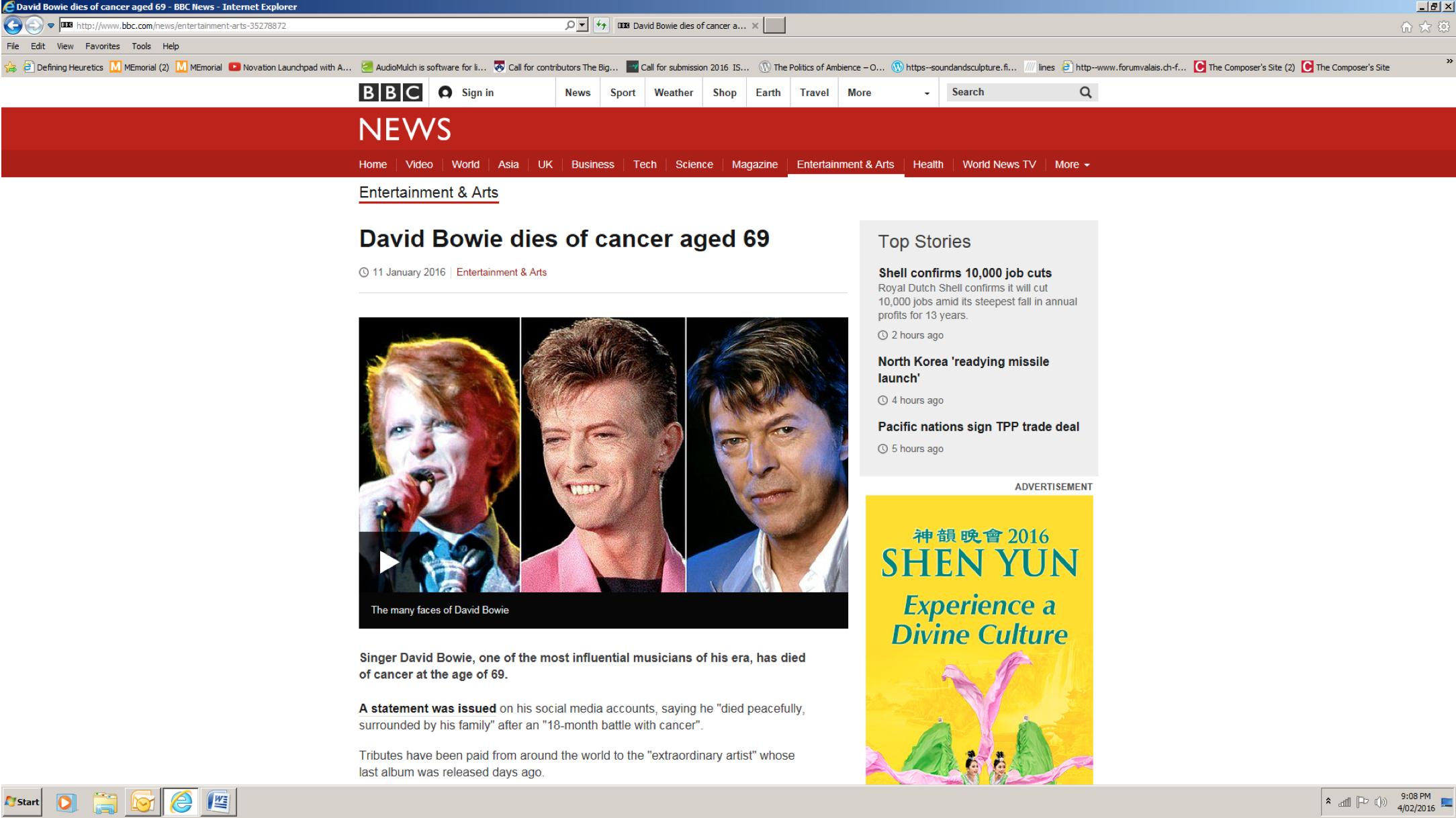 """""""David Bowie dies of cancer"""""""