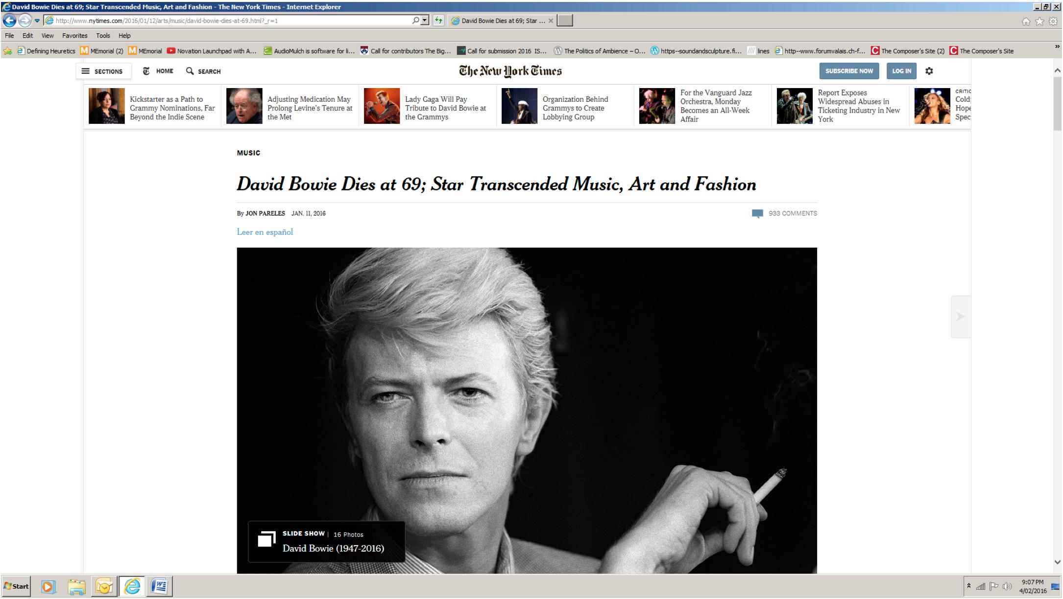 """David Bowie Dies at 69"""