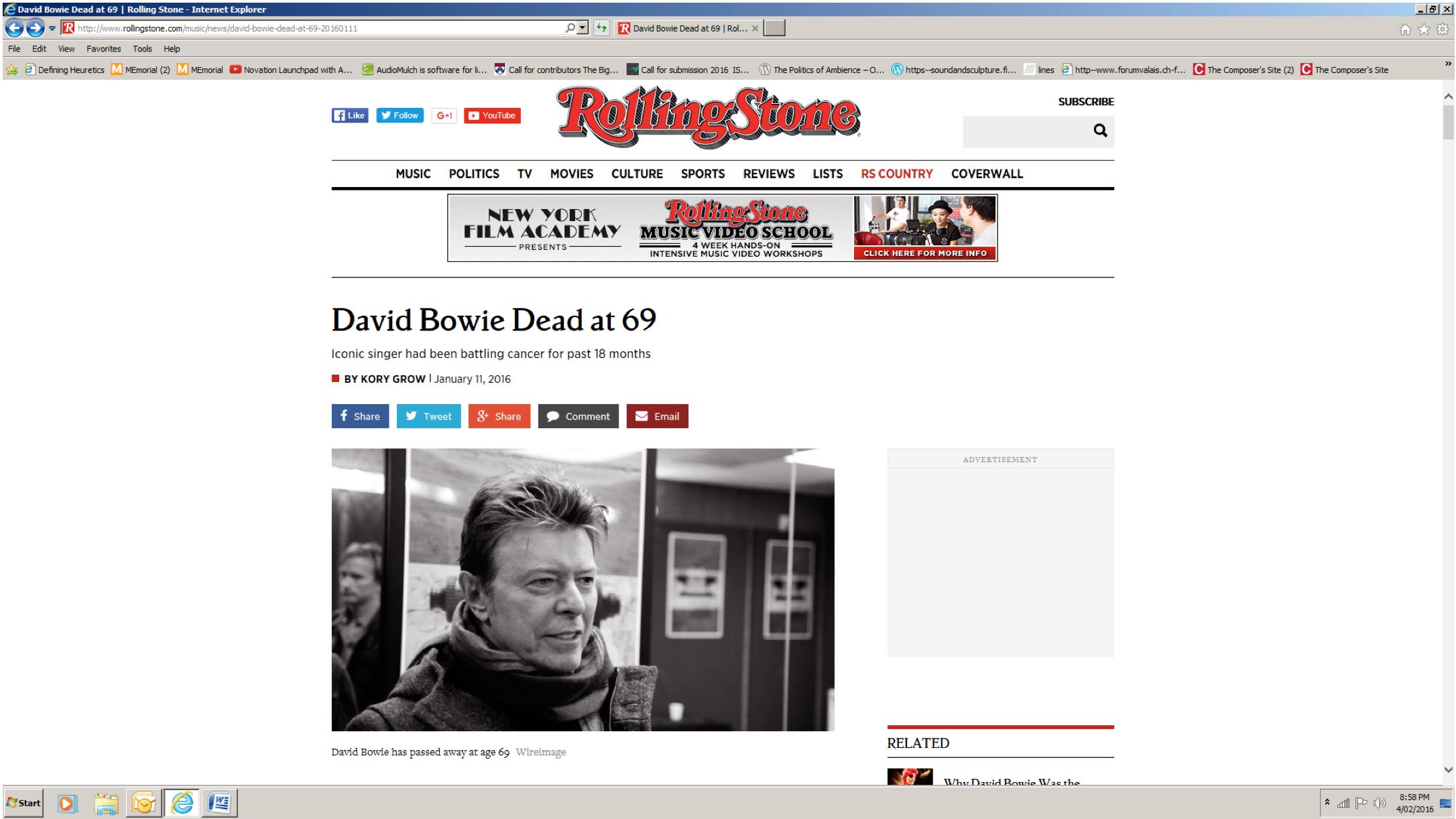 """David Bowie Dead at 69"""