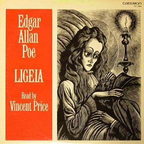 LIGEIA LP Cover. Edgar Allan Poe Read By Vincent Price.