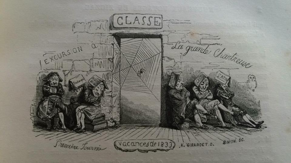 """Figure 1:  """"Classe: Excursion a La Grande Chartreuse"""" from Töpffer's  Nouveaux Voyages en Zigzag  (1) Textbook subjects (from left to right): Rhetoriqué, Algèbre, Géographie, Grec, Latin."""