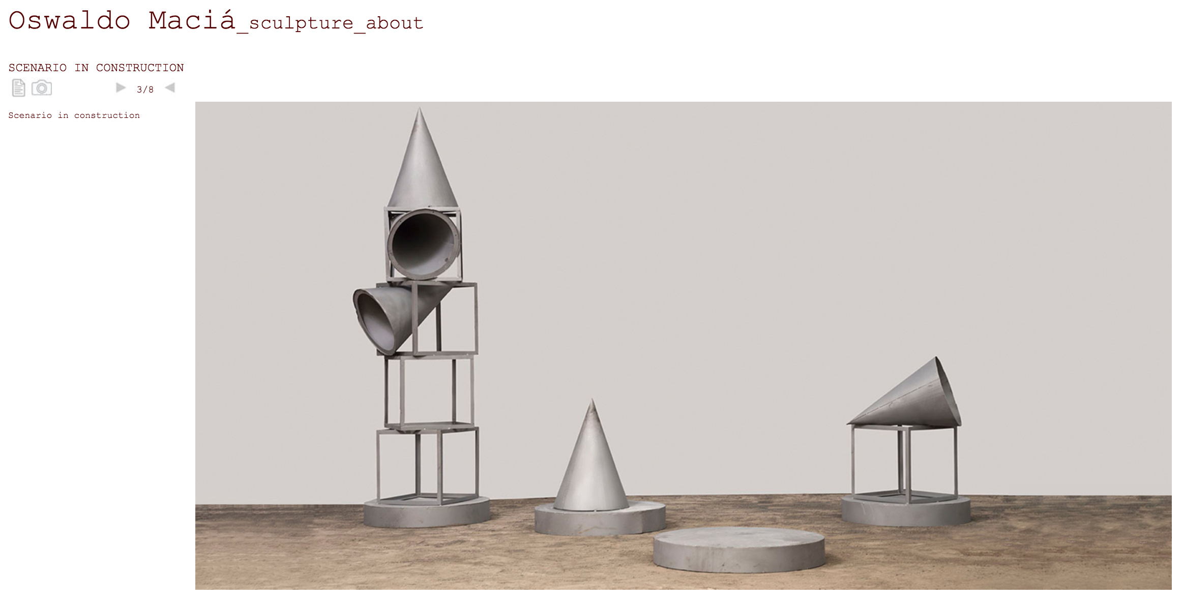 Figure 6: Scenario in Construction.  Proofs of Oswaldo Maciá's monument. (Snapshot from the artist's  website )