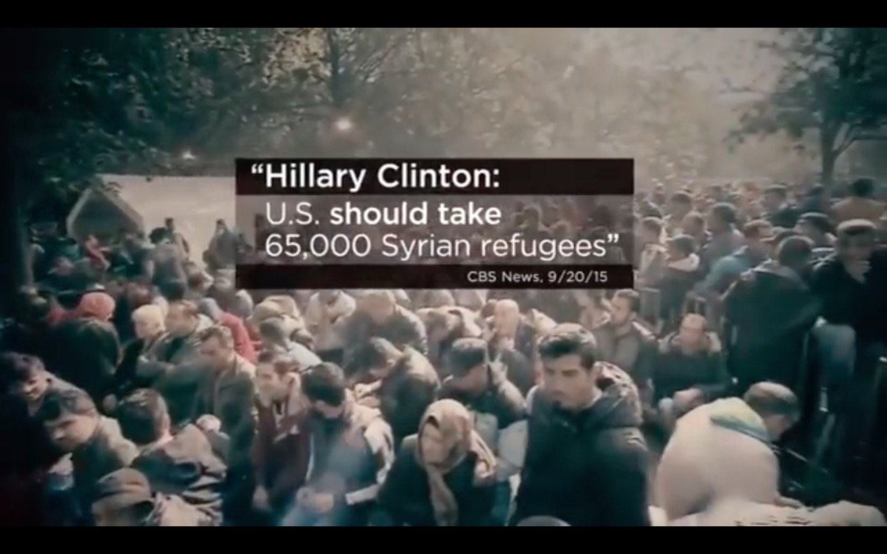 Refugees as pictured in Donald Trump's campaign ad.