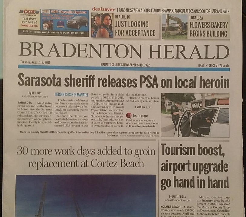Image 1,  Bradenton Herald  headlines (Photo by Clayton Benjamin)