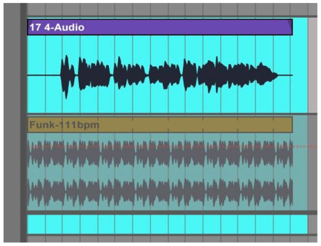 Screen Capture from Digital Audio Workstation Ableton  Live  showing waveforms for two audio input channels recorded for the first version of Bill's groove assignment.