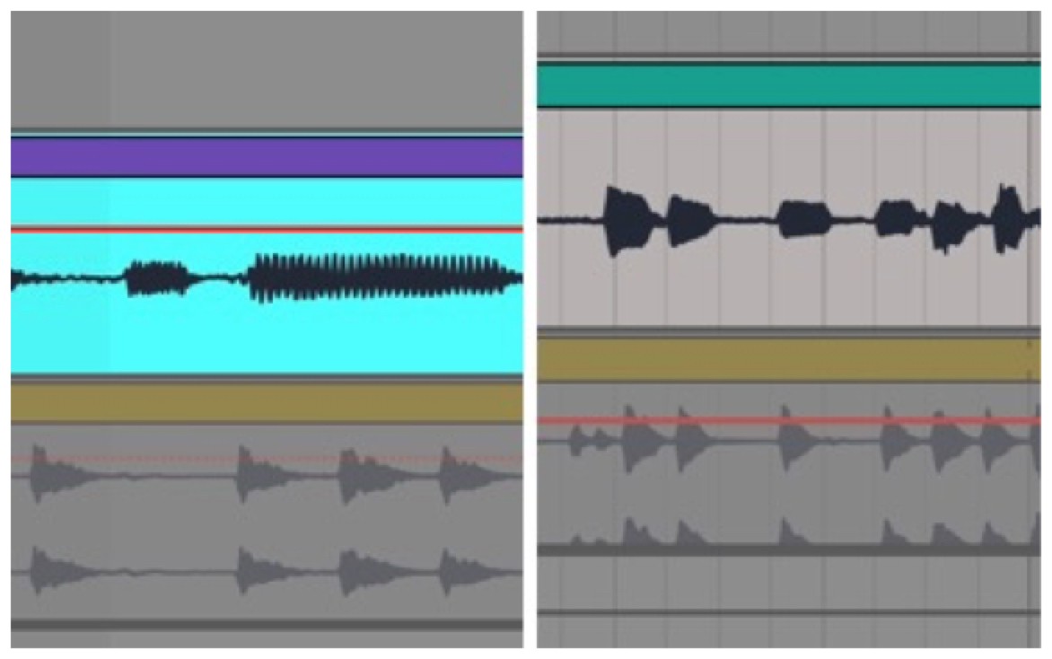 Screen Capture from Digital Audio Workstation Ableton  Live  showing waveforms from version one (left) and version two, revised (right) of Bill's groove assignment.