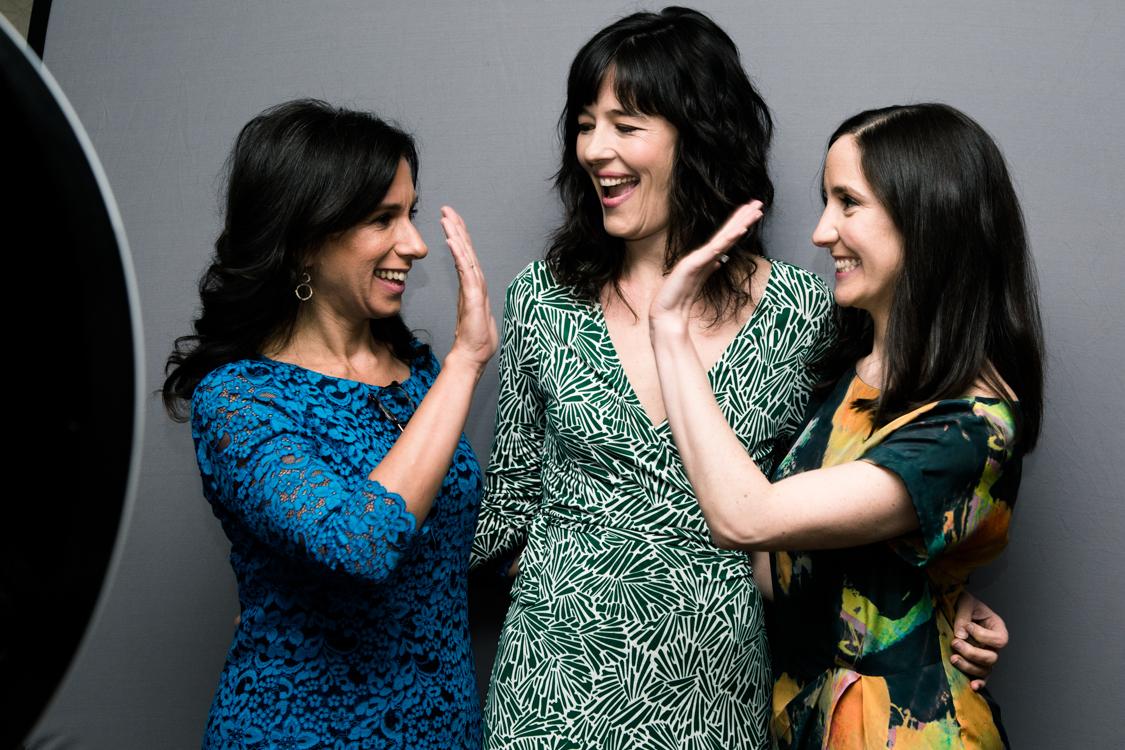 Jodi Kantor, Megan Twohey and Emily Steel at the 2018 Matrix Awards. Pulitzer Prize-winning journalists.