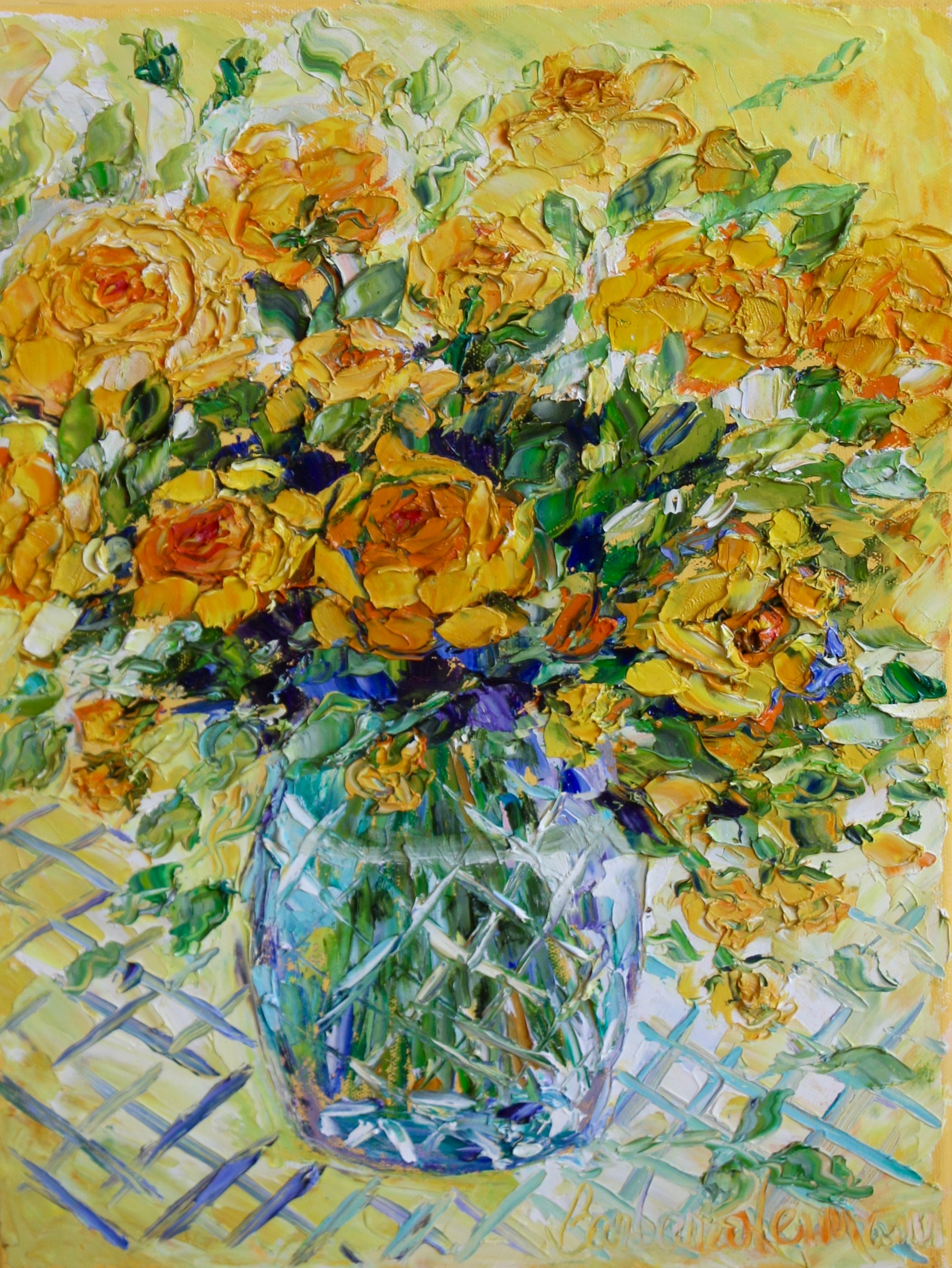 "Yellow Roses, 16""x12"""