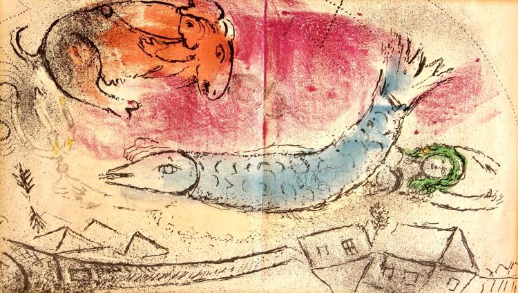"""""""The Blue Fish"""", lithograph, 9"""" x 15 1/4"""", 1957"""