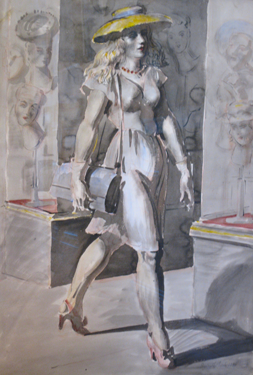 """""""New York Girl"""", Watercolor, 30""""x22"""", signed lower right"""