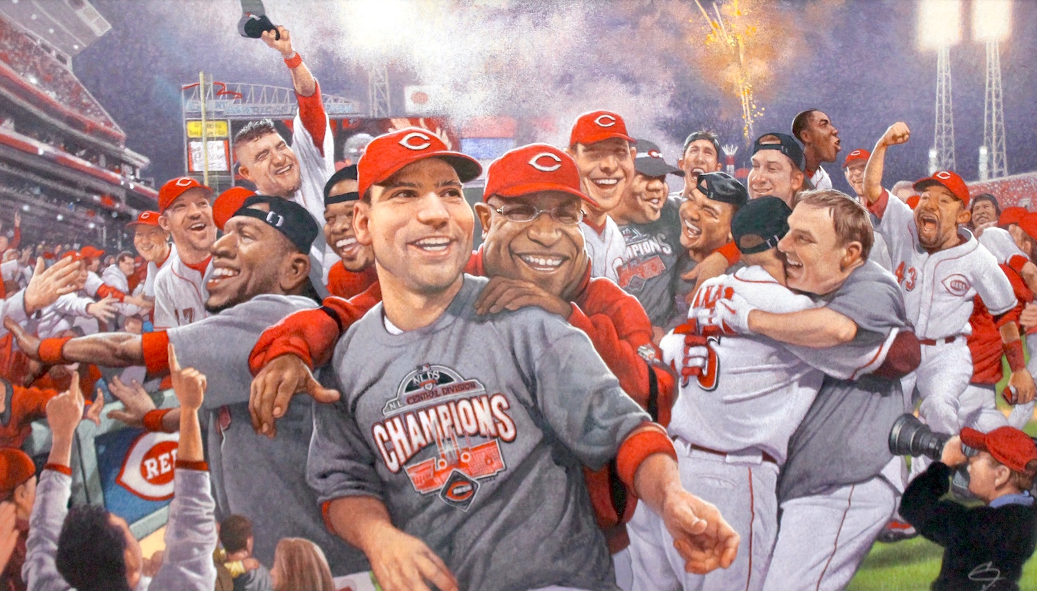 """""""Reds Clinch Central 2010"""", Mixed media illustration, 16""""x28', signed, framed."""