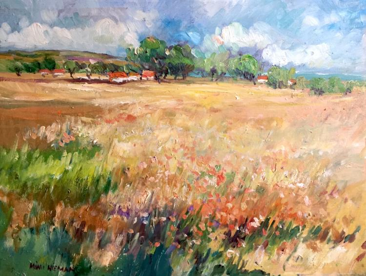"Poppies and Lavender, Provence, 18""x24"", Oil on canvas"
