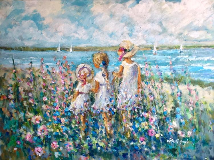 """Sisters Sharing a Dream, 30""""x40"""", Oil on canvas"""