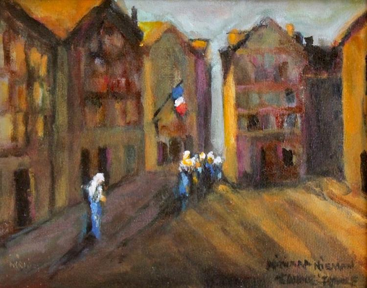 """Sisters Returning From Mass, 8""""x10"""", Oil on canvas"""