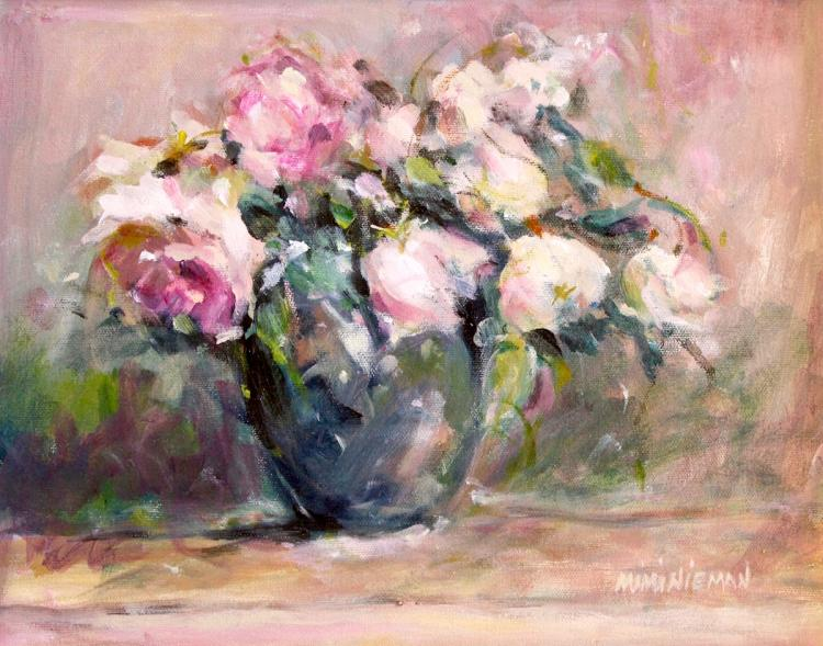 "Pink Roses, 11""x14"", Oil on canvas"