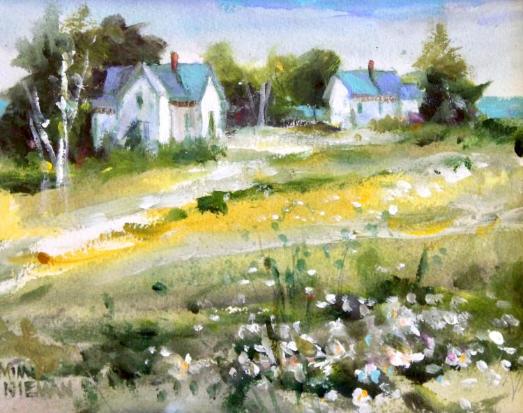 "Summer Wildflowers by the Farm, 8""x10"", Watercolor"