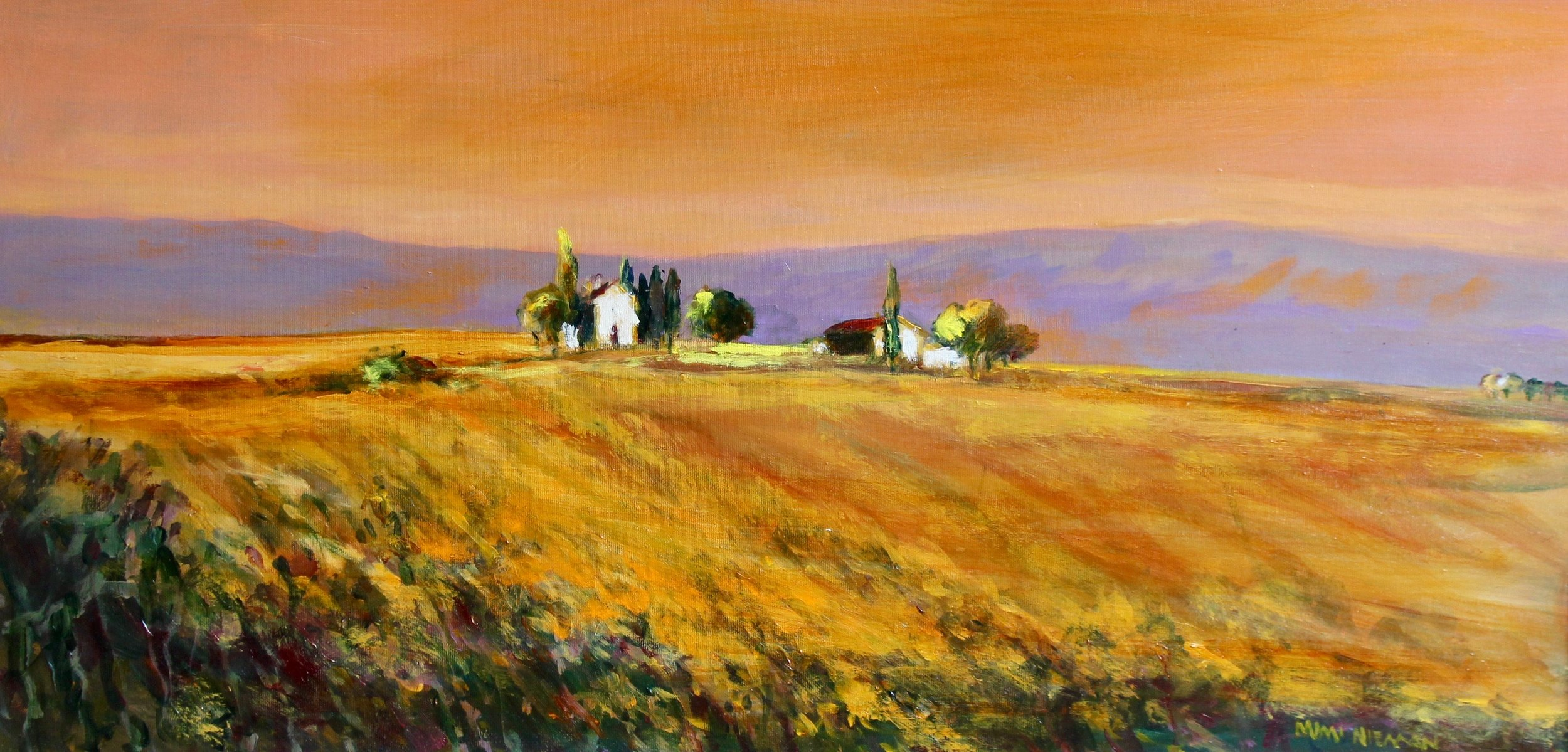 "Sunset Over Umbria, 15""x30"", Oil on canvas"