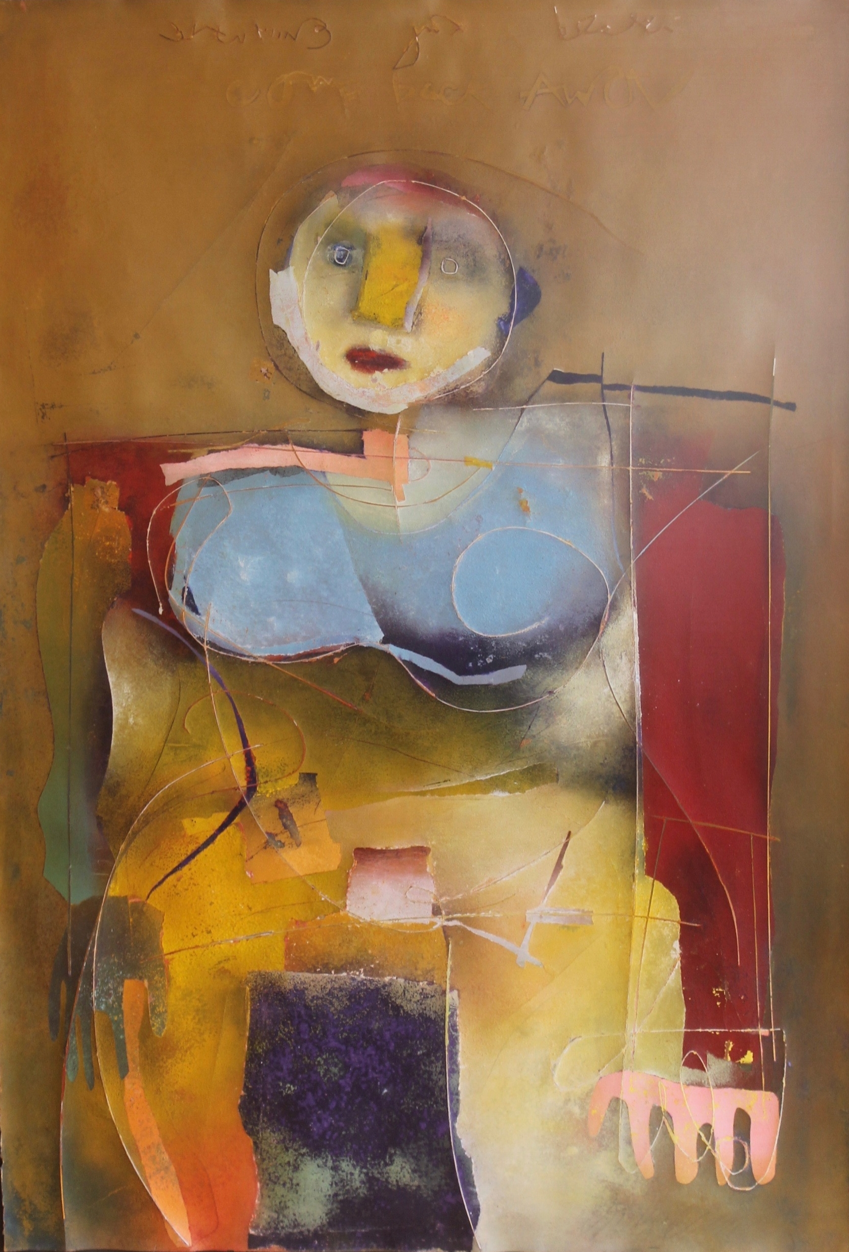 """Ochre Figure"", Mixed media on paper, 44x30 in"