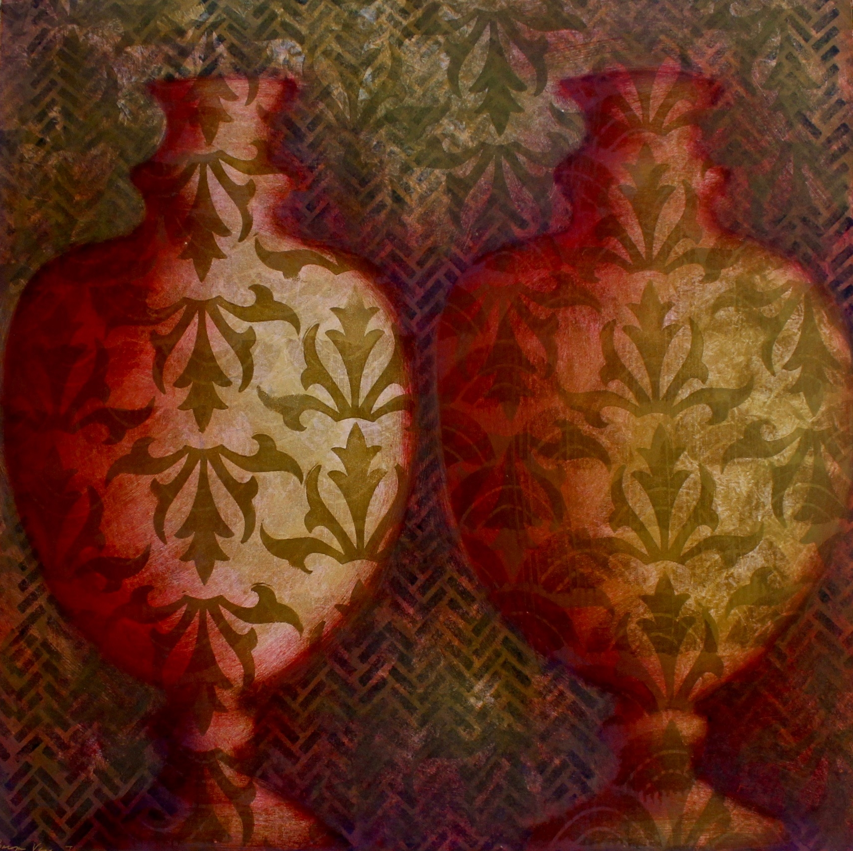 """Baroque Vases I"", Monotype print, 24x24 in."