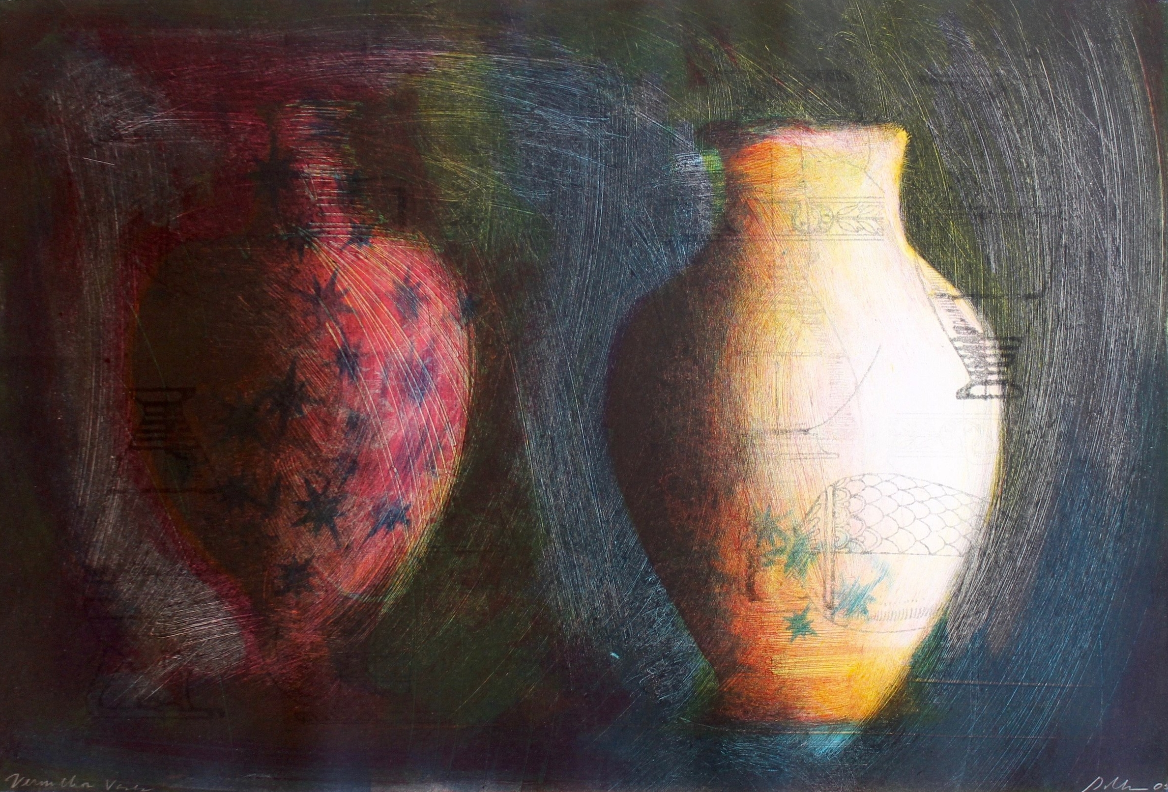 """Vermillion Vases"", Monotype print, 15x22.25 in."