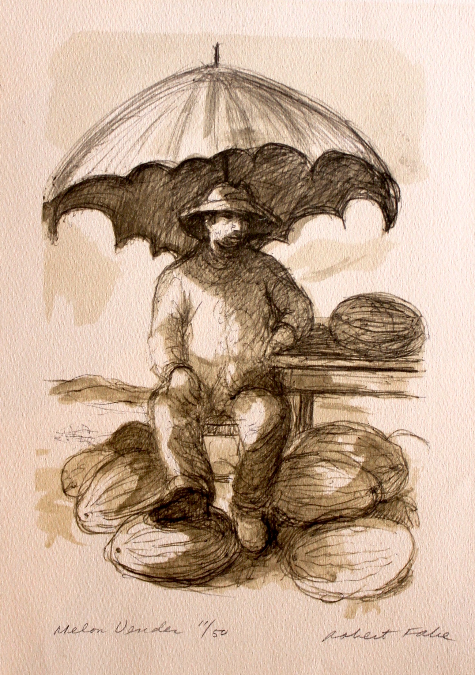 """Melon Vendor"", print ed. 11/50, 13.5x11 in"
