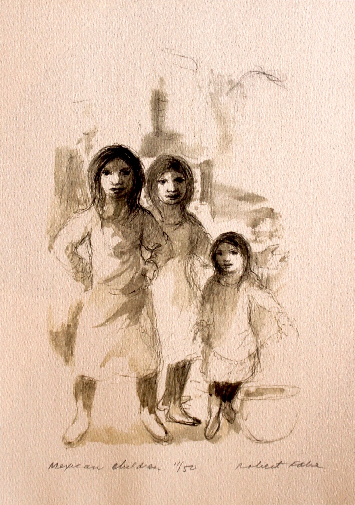 """Mexican Children"", print ed. 11/50, 13.5x11 in"