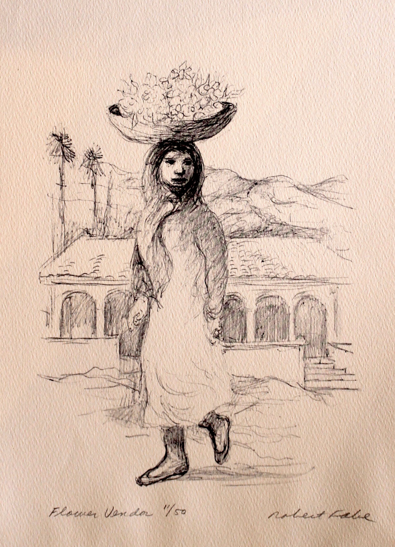 """Flower Vendor"", print ed. 11/50, 13.5x11 in"